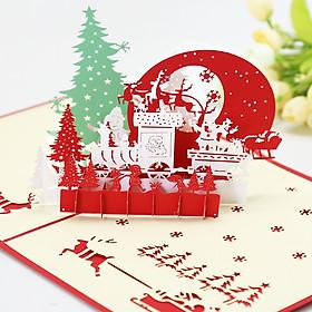 Quà Noel, Quà Giáng Sinh Ý Nghĩa MUMUSO - Thiệp Giáng Sinh 3D Đẹp, Thiệp Noel 3D Đẹp Có Hình Tuần Lộc Kéo Ông Già Noel Bay Qua Cánh Rừng Thông