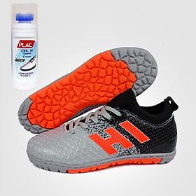 Giày đá bóng trẻ em EBET 6300 Bạc phối đen - Tặng bình làm sạch giày cao cấp