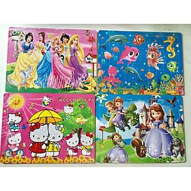 Combo 4 tranh ghép hình 60 mảnh cho bé gái BK - Công chúa, đại dương, kitty, sofia
