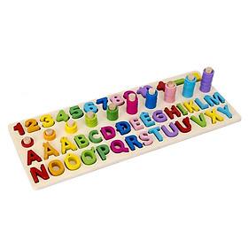 Bảng chữ cái tiếng việt và số cho bé kèm hình khối cột tính bậc thang, đồ chơi học tập, bảng ghép hình bằng gỗ thuộc giáo cụ Montessori giúp phát triển trí tuệ và kỹ năng cho trẻ Sk02