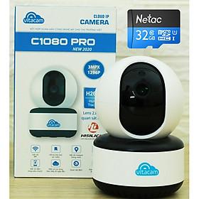 Camera Wifi IP Đàm thoại 2 Chiều  Vitacam C1080 Pro 3MP -2020 Thẻ 32GB- Hàng Chính Hãng