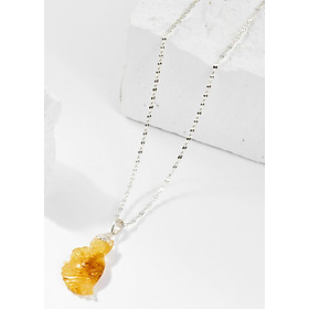 Mặt Dây Chuyền Phong Thủy Đá Thạch Anh Tóc Vàng Cửu Vĩ Hồ Ly Mệnh Thổ, Kim Ngọc Quý Gemstones