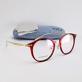 Gọng kính cận tròn nam nữ màu đỏ, hồng và nâu đồng, tròng giả cận 0 độ mã DKY1051. Đuôi gọng kim loại ôm mặt, không kén size mặt. Tặng hộp đựng kính và khăn lau kính.