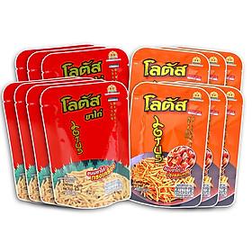 Combo 13 Gói Bánh que Lotus vị Tôm và vị Thịt Heo Xông Khói (25g x 13 gói)