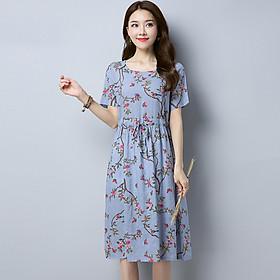 Đầm nữ hoa nhí ARCTIC HUNTER đầm vải đũi ngắn tay kèm dây cột eo AH94
