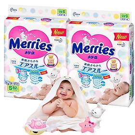 Combo 2 Tã Dán Merries S82 tặng khăn tắm sợi tre hình thỏ đáng yêu và đồ chơi tắm Toys House-0