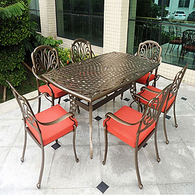 Bộ bàn ghế nhôm đúc ngoài trời chữ nhật, Mã FY-078ZX, Bộ bàn chữ nhật 6 ghế