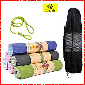 Thảm Tập Yoga, Gym Amalife 2 Lớp + Túi Đựng Thảm Tập Yoga + Dây Buộc Thảm Tập Yoga (Giao Màu Ngẫu Nhiên)