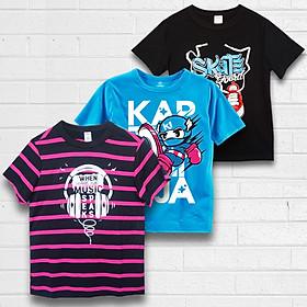Combo 3 áo bé trai TAMOD cao cấp màu xanh, đen và sọc hồng