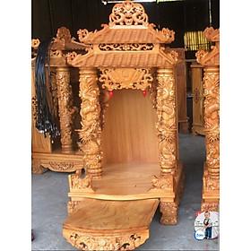 Bàn thờ thần tài ông địa gỗ gõ đỏ ngang 60cm cột  trụ cột rồng 12cm