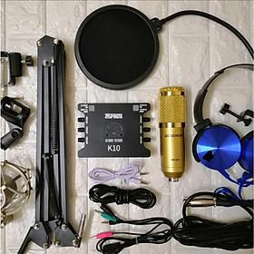 Trọn Bộ Míc Thu Âm Livestream Hát Karaoke Online Micro BM-900+ CARD K10+ dây live MA2+Tặng Tai Phone ốp+ Chân kẹp+màng lọc Hàng chính hãng