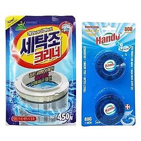 Combo gói bột tẩy vệ sinh lồng máy giặt siêu sạch 450g Korea + Vỉ 2 viên tẩy xanh khử mùi bồn cầu Hando