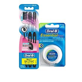 Combo Chăm Sóc Răng Miệng Toàn Diện (Vỉ 3 Bàn Chải Đánh Răng Oral-B Trà Đen (Mua 2 Tặng 1) + Chỉ Nha Khoa Oral-B Essential Mint (Hộp 50m))