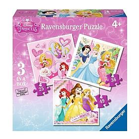 Xếp Hình Puzzle Công Chúa Disney Ravensburger RV07008 4 (3 Bộ 25/36/49 Mảnh)