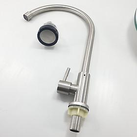 Vòi rửa chén bát lạnh Cao Cấp INOX SUS 304 HC2025 ống cong phi 18mm