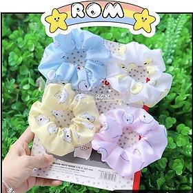 Cột tóc scrunchies gấu dễ thương tông màu pastel