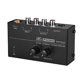 Ultra-compact Phono Preamp Preamplifier with Level & Volume Controls RCA Input & Output 1/4 Inch TRS Output Interfaces