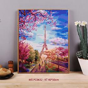 Tranh tự tô màu sơn dầu số hóa phong cảnh - Mã PC0632 Paris mùa xuân Tháp Eiffel nước Pháp