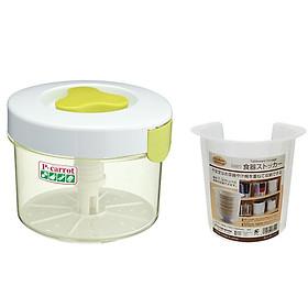 Combo hộp muối dưa cà 2.2L + Hộp đựng bát đĩa cất gọn - Tặng 2 phễu nhựa nội địa Nhật Bản