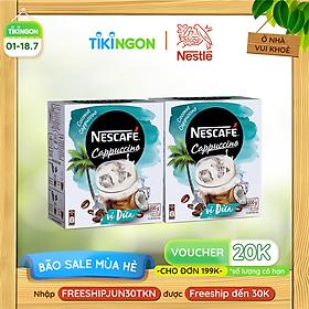 [Chỉ Giao HCM] Combo 2 hộp cà phê hòa tan Nescafe Cappuccino vị dừa (hộp 10 gói x 20g)