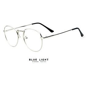 Kính Giả Cận Nam Nữ Gọng Kính Cận Không Độ Mắt tròn Gọng Bạc - BLUE LIGHT SHOP
