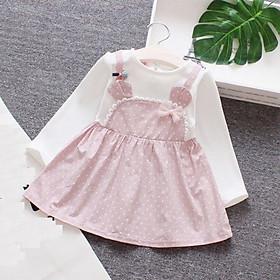 Váy yếm đính nơ cho bé