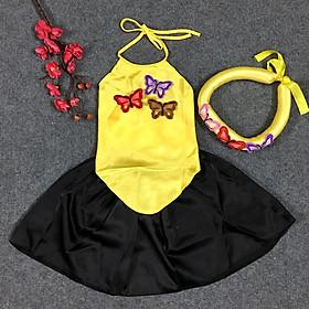 Set yếm đào bướm lụa cho bé gái kèm mấn