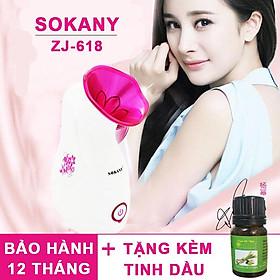 Máy Xông Hơi Mặt Sokany ZJ-608, Tặng Chai Tinh Dầu Hương Thơm Essesa - HÀNG CHÍNH HÃNG
