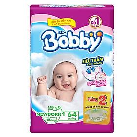Miếng Lót Sơ Sinh Bobby Fresh Newborn 1 - 64 (64 Miếng) + 2 miếng tã dán bobby size XS