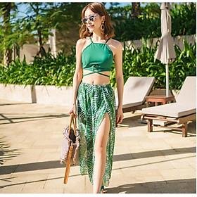 Bộ đồ tắm đồ bơi nữ 2 mảnh bikini tắm biển kèm váy hoạ tiết dương xỉ sexy