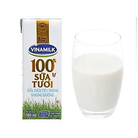[Chỉ Giao HCM] - Sữa tươi tiệt trùng không đường Vinamilk - hộp 180ml