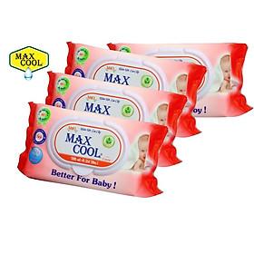 Combo 4 Gói Khăn Ướt Max Cool 100 Tờ Có Hương ( 100 tờ x 4 )