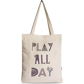 Túi tote vải canvas in chữ Play all day