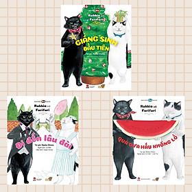 Ba Cuốn Sách 3 Cuốn Ehon Bé phiêu lưu cùng 2 bạn Mèo Rukkio và Furifuri: Quả Dưa Hấu Khổng Lồ + Giáng Sinh Đầu Tiên + Đi Đến Lâu Đài