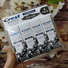 Set Kem đánh răng than hoạt tính của Mỹ Crest 3D White Charcoal Toothpaste 116g x4
