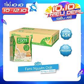 Thùng Sữa đậu nành Fami nguyên chất (200ml x 36 Hộp)