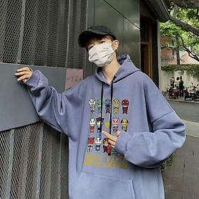 Áo hoodie nam nữ thun cotton 4 chiều co giãn in hoạt hình siêu nhân cá tính năng động