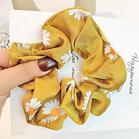 Dây buộc tóc Scrunchies lụa in hoa cúc HD98