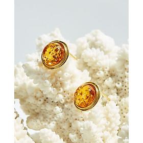 Bông tai hổ phách tròn bo bạc 925 mạ vàng 14k sang trọng - Cami.J
