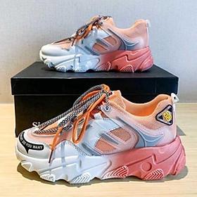 Giày thể thao nữ  lưới đế màu độn đế lót hơi