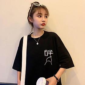 áo thun logo phom rộng mặc đôi mặc 1 nhóm siêu cute
