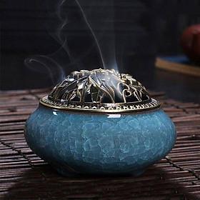 Lư Xông Trầm bằng sứ màu xanh