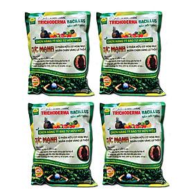 4 gói Chế phẩm vi sinh Trichoderma TRIBAC (1kg). Ủ phân cá, rác hữu cơ hoai mục không mùi hôi. Nấm đối kháng cực mạnh. Ngăn chặn tuyến trùng, nấm bệnh gây vàng lá thối rễ. HSD: 2 năm