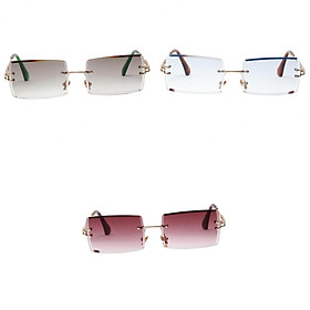 3x Fashion Rimless Sunglasses Classic Party Tinted Lens Eyewear Anti-UV