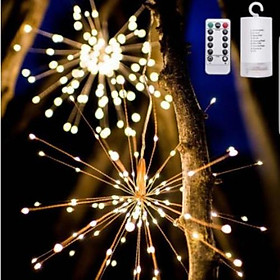 Đèn Led Pháo Hoa CHỐNG NƯỚC, 8 CHẾ ĐỘ NHÁY, CÓ ĐIỀU KHIỂN, 120 bóng, 40 dây, nguồn 4 pin tiểu AA, trang trí đám cưới, sinh nhật, tiệc, sự kiện, phòng ngủ.