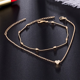 Women Fashional Elegant Concise Retro Alloy Material Anti-friction Heart-shaped Anklet
