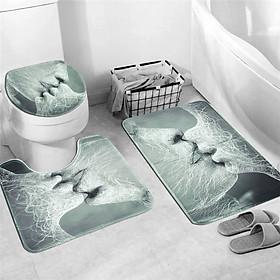 Love Kiss Shower Curtain Waterproof Bathroom Bath Mat Set Rug Toilet Lid Cover