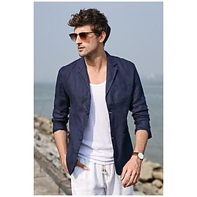 Áo vest blazer Linen nam dáng lửng, chất vải linen tự nhiên mềm mại, thời trang phong cách lịch lãm - Xanh than