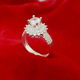 Nhẫn  bạc nữ ổ cao gắn đá kim cương nhân tạo 6ly chất liệu bạc  – QTNU51