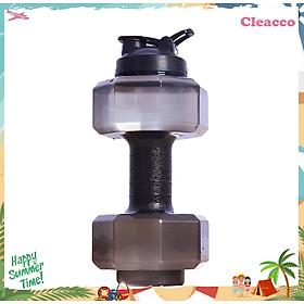 Bình nước thể thao dung tích 2,5L tập gym thiết kế hình tạ tiện lợi chất liệu nhựa PP cao cấp Cleacco